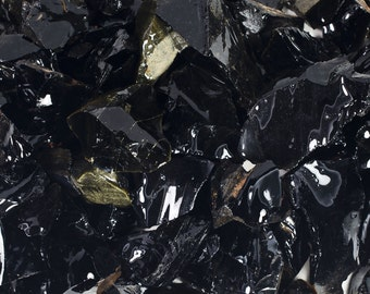 Fantasia Materials: 1 lb of Black Obsidian Rough Stones from Mexico - Natural Crystals for Tumbling, Wrapping, Polishing, Reiki and More!