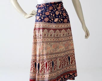1970s block print wrap skirt