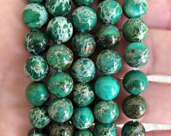 8mm Green Impression Jasper, impression jasper beads, jasper beads, 8mm jasper beads, blue jasper, 8mm jasper, jasper beads, Mala beads