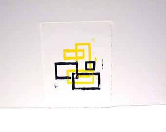 Geometric linocut PRINT - Yellow and Black 8x10 Rectangles