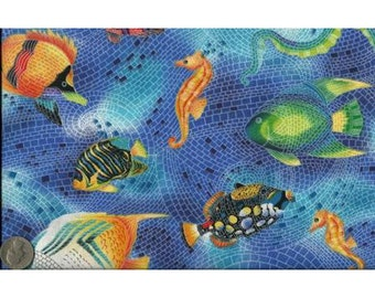 Timeless Treasures Quilting Cotton Fabric Sea Creatures Blue 127583 - 1/2 Yard