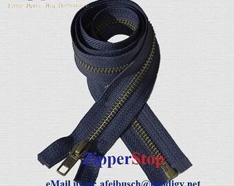 Antique Brass Separating Zippers - NAVY - Number 5 - Jacket Zipper -  ZipperStop Authorized Wholesale Distributor YKK®