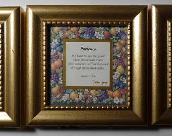 """Inspiration Picture Frames - Set of Three (3) - All Different - Heartfelt Collection - """"Patience"""", Goodness"""" and """"Gentleness"""""""