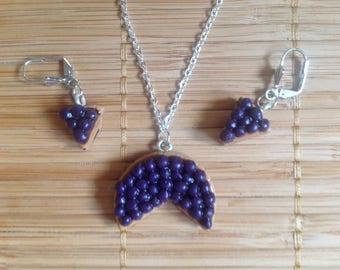 Set necklace + earrings model Blueberry Pie