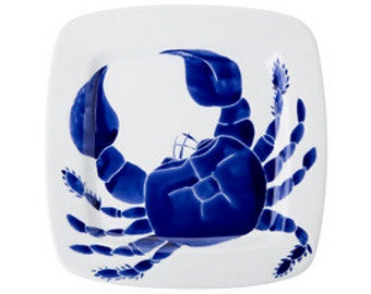 Large square navy blue ceramic crab serving platter, dish, tray by Jessica Howard ceramic serving dish nautical blue and white crab