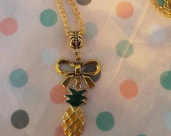 Gold pineapple  necklace. Rockabilly Psychobilly