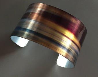 Aluminum Cuff Bracelet Metal Wearable Art 'L'AUTOMNE'