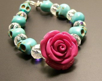 Sugar Skull Jewelry Day of the Dead Pink Rose and Sugar Skull Bracelet Halloween jewelry