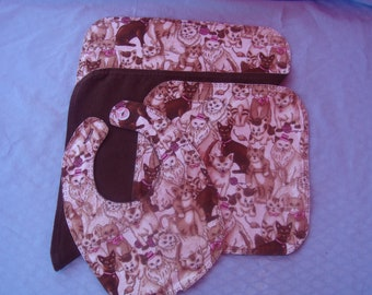 Flannel Brown, Pink and White Cats with Small Heart Stitching - Burp Cloth, Wash Cloth and Bib Set
