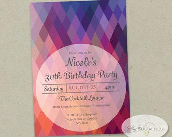 Colorful Geometric Invitation | Rainbow, Multicolor, Use for Any occasion, Purple, Pink, Red | INSTANT DOWNLOAD