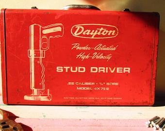 Vintage Tool Box, Red Tool Box, Tool Kit Box, Stud Driver, Storage Box, Red Metal Box, Tool Chest, Art Supplies Box, Man Cave Display, Decor