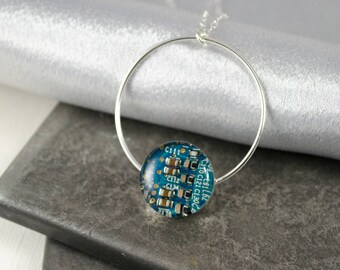 Circuit Board Necklace Turquoise Blue, Sterling Silver Jewelry, Colorful Necklace, Wearable Technology, Artisan Necklace, Geek Engineer Gift