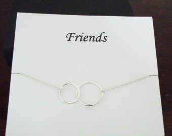 Double Half Flat Circle Infinity Silver Necklace ~Personalized Jewelry Gift Card for Friend, Cousin, Sister in Law, Bridal Party, Graduation