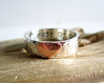 Sterling Silver Copper Heart Ring - Personalized Ring