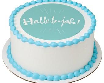 Watercolor Hallelujah! Edible Cake Topper
