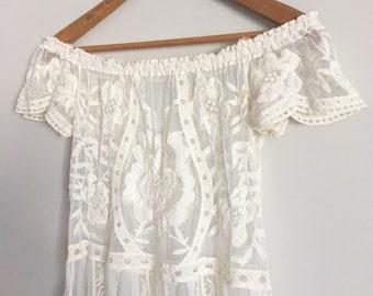 ELLA   large bandoulière dentelle mi robe de maternité   Ivoire