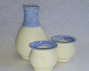 Yellow and Blue Sake Set or Whiskey Flask and Two Shot Glasses Wheel Thrown Pottery Bottle and Matching Cups -  Microwave & Dishwasher Safe