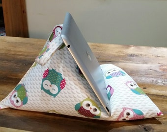 Ipad cushion stand, tablet, Kindle, Book bean bag stand premium quality owl fabric - Handmade