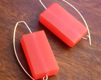 Strawberry Resin Rectangles on Silver
