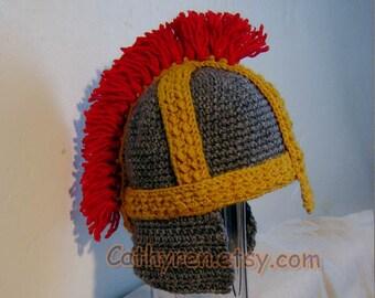 Helmet, Roman Soldier Helmet, Greek soldier Helmet, INSTANT DOWNLOAD Crochet Pattern