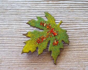 Yellow Green Enamel Leaf Pin, Vintage Enamel Copper Leaf Pin, Chartreuse Enamel Copper Pin, Leaf Jewelry,  Vintage Copper Jewelry