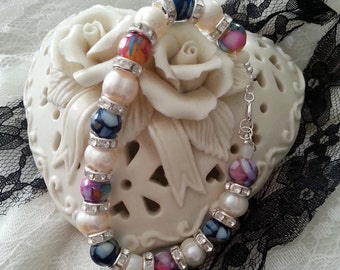 Marbled Blue and Rainbow Mother of Pearl Bracelet with Freshwater Pearls