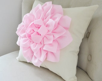 Pale Pink Dahlia Flower on Ivory/Cream Pillow Accent Pillow Throw Pillow Toss Pillow Baby Nursery Pillow