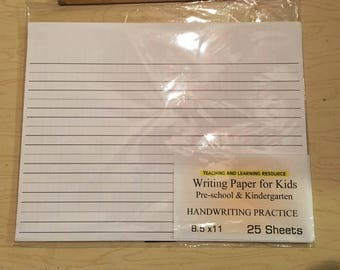 Writing Paper for Kids - HANDWRITING PRACTICE - 11X 8.5 in, 20 lb, 25 sheets