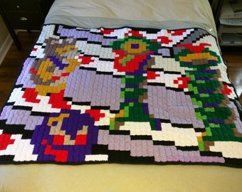 Crystal Castles 80s Arcade Game Pixel Blanket