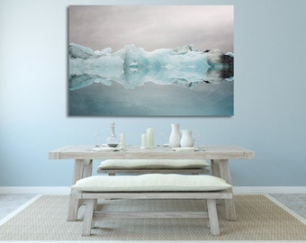 "Extra Large Wall Art, Canvas Art, Blue Wall Decor, Canvas Print, Iceland Iceberg, Winter Landscape Photo, Home Decor ""Under the Glacier"""