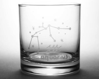 Aquarius Zodiac Constellation Lowball Glasses - Set of 2