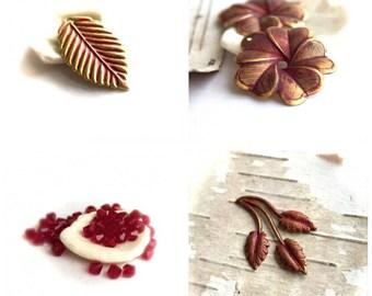 Red Patina Bead Charm Set - Flower Pendant, Leaf Charms, Swarovski Bicone Crystals, Red Siam