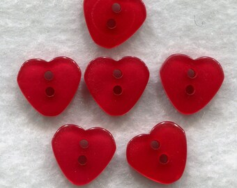 Ruby Red Buttons Rich Red Heart Acrylic Buttons 12 mm (1/2 inch) Set of 12/BT186