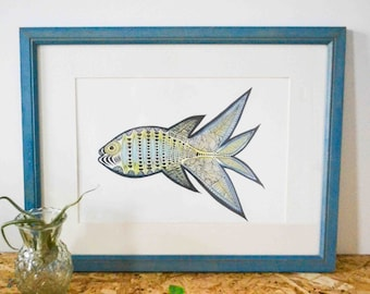 A4 Fish Blue (artprint)