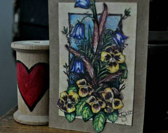 This bright lovely collectible ACEO card stock collage is a print from an original mixed media painting of pansies by Dolores Jablonski.