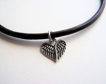 Feather Heart Charm Ankle Bracelet on a Leather Cord by Ankletgypsy