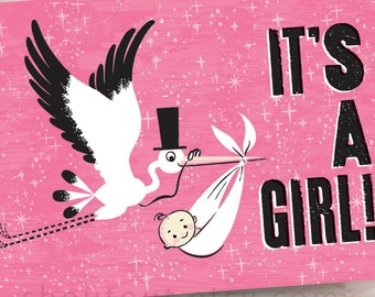Custom Birth Announcements - Retro Stork Visit - Baby Girl Pink - 100 Cards and Envelopes