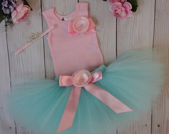 Aqua and Pink Tutu Dress   Baby Girls 1st Birthday Outfit