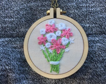 Pink and White Bouquet Embroidered Necklace