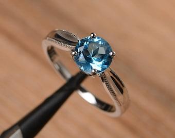 Swiss blue topaz ring wedding ring solitaire ring sterling silver ring round cut gemstone ring November birthstone