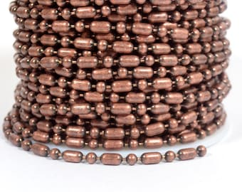Ball and Bar Chain - Antique Copper - 3.2mm - Choose Your Length