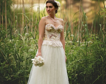 Lady Sofia Rose Wedding Gown, Romantic Rose Wedding Gown, Alternative Wedding Gown,Upcycled Lace Wedding Gown,