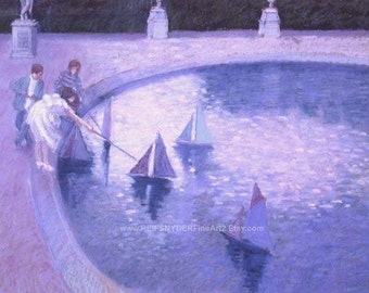 Paris Park Greeting Card, figures, 5x7, children playing, toy sailboats, French, Luxembourg Gardens, art, blue, pink, lavender, boats, blank