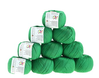 10 x 50g knitted yarn Dainty cotton, #147 Green