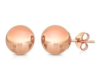 10Kt Rose Gold Ball Stud Earrings