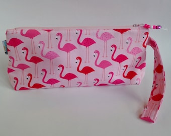 SALE - Pink Flamingos Zipper Knitting Project Bag, Wedge Bag, Zippered Project Bag