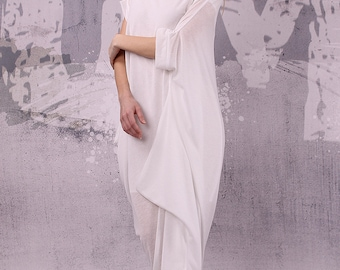 White loose asymmetrical maxi dress with short sleeves / plus size dress / oversized tunic dress / long tunic dress /  - 029