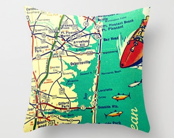 New Jersey Pillow Cover 18x18, Jew Jersey Gift, Jersey Girl Gift, Jersey Shore Throw Pillow NJ Seaside Park Point Pleasant, NJ Strong Pillow