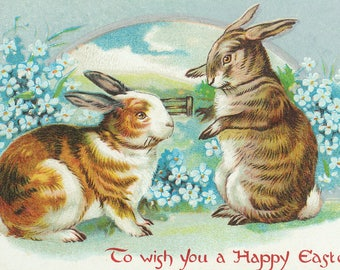 Bunnies Wishing A Happy Easter - Vintage Artwork (Art Print - Multiple Sizes Available)