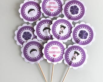 10 decorations for Cupcakes (cupcake toppers) purple theme Japan
